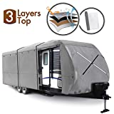 XGEAR Travel Trailer RV Cover Water-Repellent Fabric with Thick 3-ply Top Windproof Buckles & Adhesive Repair Patch (22'-24')