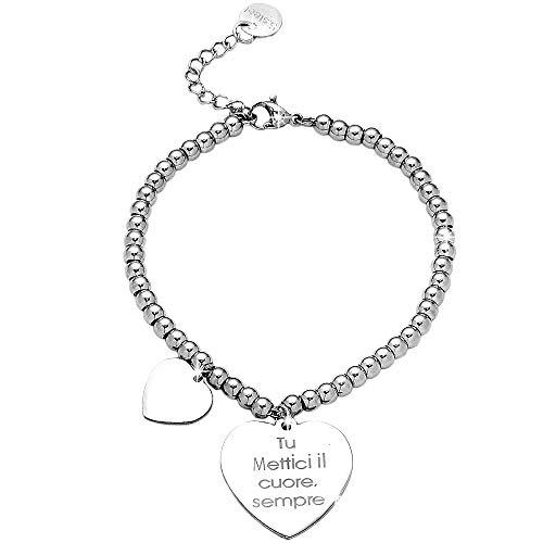 Beloved Bracciale da donna, braccialetto in acciaio emozionale - frasi, pensieri, parole con charms - ciondolo pendente - misura regolabile - incisione - argento (MOD 24)