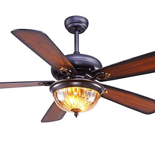 Deckenventilator mit Licht, LED antike Holzblatt 3-fach verstellbare Deckenventilator Licht, geeignet für Wohnzimmer, Esszimmer, Schlafzimmer Dekoration Beleuchtung Ventilator,Remote control,42in