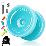 MAGICYOYO K2 Plus Crystal Yoyo for Kids, Dual Purpose Responsive Yo-yo for Beginner,Replacement Unresponsive Bearing for Intermediate Advanced,with 5 Yoyo Strings, Bag, Bearing Remover(Sky Blue)