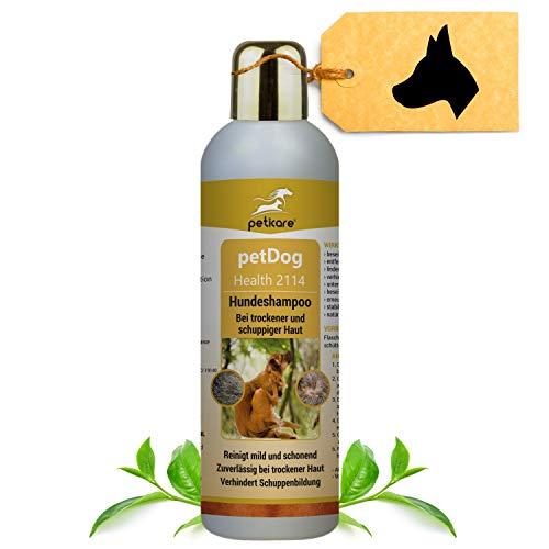 Peticare Spezial Schuppen-Shampoo für Hunde - Hochwirksame Pflege bei trockener & schuppiger Haut, lindert Juckreiz, regeneriert die Hundehaut, rein pflanzliche Inhaltsstoffe - petDog Health 2114