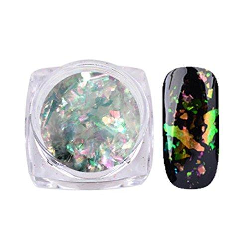 Familizo Nail Art Gorgeous Mirror Poudre Paillettes de Chrome Manucure, Poudre de Nuage de Patch Grossier de Couleur D'ongle (Multicolore, D)
