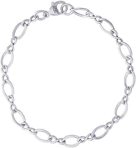 8' Sterling Silver Large Figure Eight Link Classic Charm Bracelet by Rembrandt