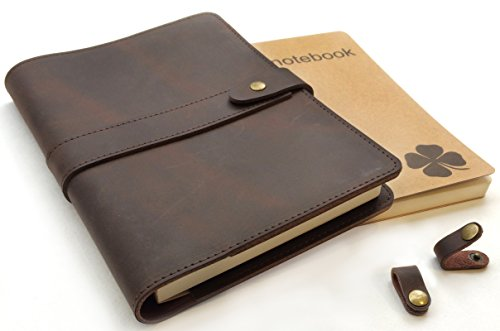 Le Vent Refillable Leather Journal for Men and Women – 2 Bound Notebooks Lined and Blank – 8x5 A5 Leather Cover for Writing Notebook - Brown Vintage Diary for Travelers, Writers and Business