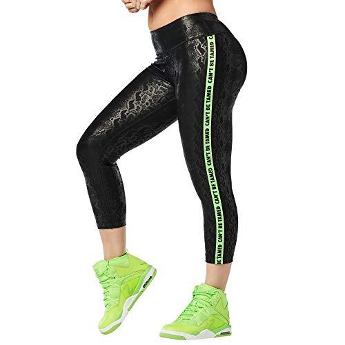 Zumba Dance Capri Leggings Estampados Fitness Entrenamiento Mallas de Deporte de Mujer, Bold Black 12, M