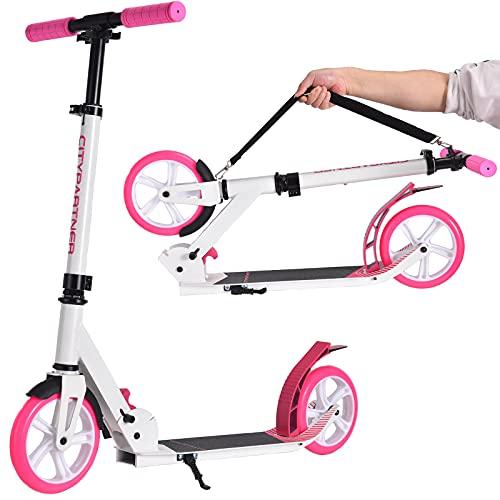 Patinete City Roller plegable y altura regulable para adultos, Big Wheel Scooter Cityroller con doble suspensión y correa de transporte, patinete para niños a partir de 12 años hasta 100 kg (rosa)