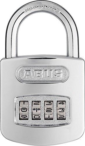 ABUS Zahlenschloss 160/50 - Vorhängeschloss in hochglanz-verchromter Optik - mit individuell einstellbarem Zahlencode - 02987 - Level 6 - Silber