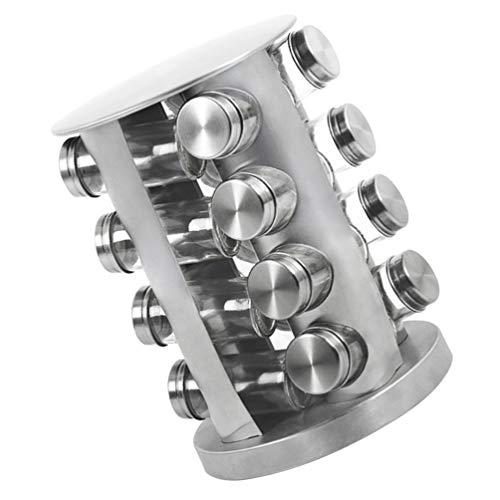 TOPBATHY Conjunto 1 16 Jar Spice Rack de Aço Inoxidável Kit Rotativo Torre Girando Condimento Pote Vazio Garrafas de Tempero Tempero Carrossel Organizador Titular para O Sal Pimenta Erva