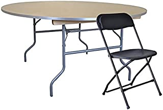 60-Inch (5-Foot) Diameter Round Wood Table with Aluminum Edge and 10 Black Poly Chairs Bundle for Weddings, Events, and Banquets