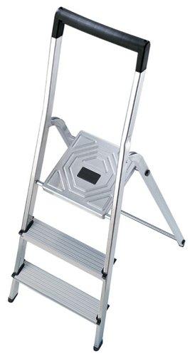 Hailo 8943-001 Escalera de aluminio con 3 peldaños y travesaño superior de seguridad con gancho para cubo