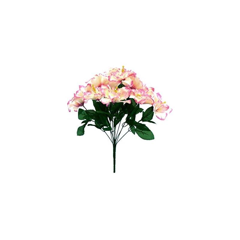 """silk flower arrangements cream beauty tip hibiscus bush 12 artificial silk flowers 20"""" bouquet 5325 crbt"""