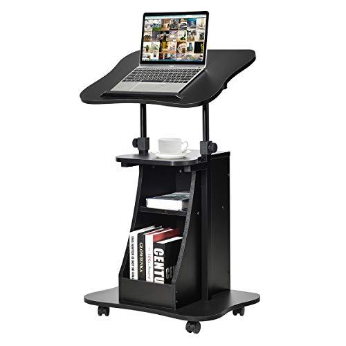COSTWAY Laptoptisch auf Rollen, Projektionstisch höhenverstellbar, Stehtisch, Rollwagen mit Schwenkplatte, ideal für Heim- und Bürobedarf, schwarz