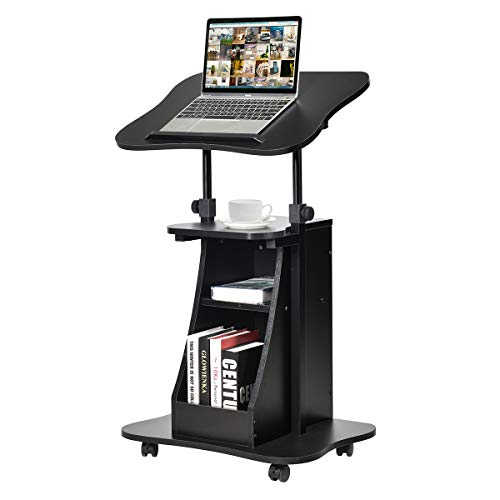COSTWAY Mesa para Ordenador Portátil Altura Ajustable con Ruedas y Estante Carro para Computadora para Oficina Hogar Negro
