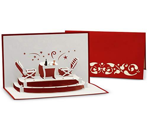 Einladungskarte für Restaurant-Gutschein & Essens-Einladung, auch zum Valentinstag - 3D Pop-Up Karte als Klappkarte - Glückwunschkarte für gemeinsames Abendessen & Candle-Light Dinner