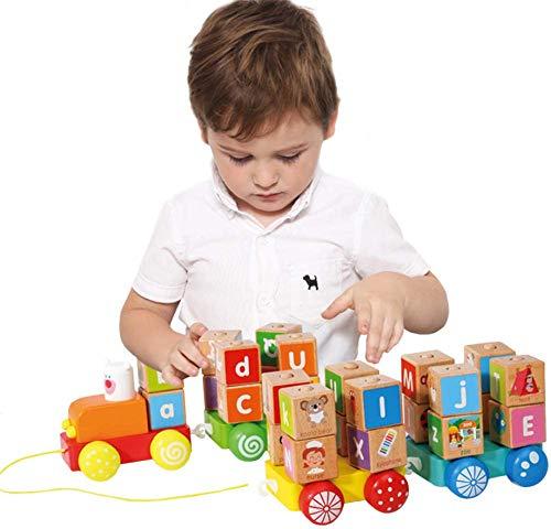 XIAPIA Trenes de Juguete Juguetes Montessori Juegos Educativos Brio Tren Madera con Bloques ABC Tren Juguete de Madera Regalos para Niños de Navidad de Cumpleaños Playtive (Tren)