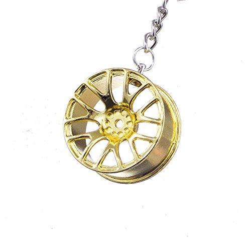 """nanomondo Schlüsselanhänger """"Alufelge Gold"""" aus Metall N1106"""