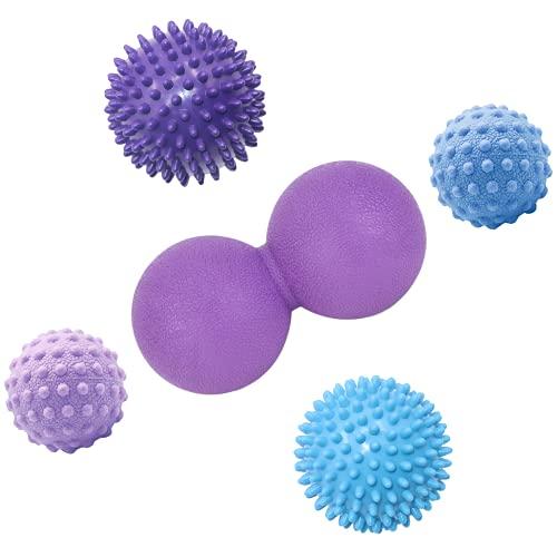 TopBine Juego de bolas de masaje, bola de masaje de maní, bola de silicona para masaje de pies, recuperación muscular de tejido profundo y terapia de punto de disparador (5 unidades)