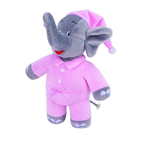 Benjamin Blümchen Kuscheltier Schlummer-Elefant mit Sound 10844 , weiche Plüschfigur mit original Stimme, ca. 22 cm groß von Jazwares