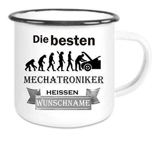 Crealuxe Emailletasse m. Wunschname Die besten Mechatroniker heißen (Wunschname) - Kaffeetasse mit Motiv, Bedruckte Tasse mit Sprüchen oder Bildern