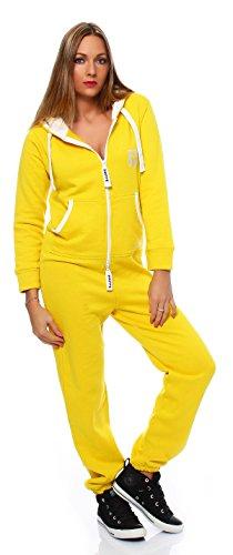 Hoppe Gennadi Damen Jumpsuit Onesie Jogger Einteiler Overall Jogging Anzug Trainingsanzug - Slim FIT,gelb,L