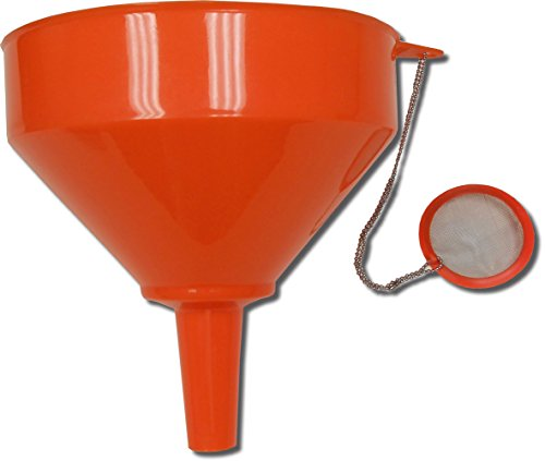 King Kooker 8' Plastic Cooking Oil Funnel with Attached Reusable Stainless Steel Mesh Filter