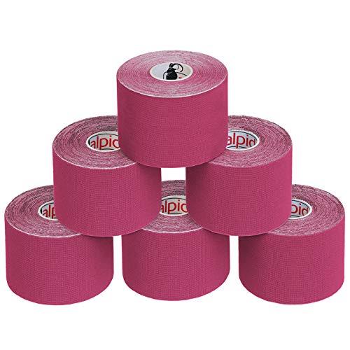ALPIDEX 6 Rollen Kinesiologie Tape 5 m x 5 cm E-Book Anwendungsbroschüre Elastisches Tape Set, Farbe:pink