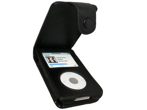 iGadgitz U0131 Echtes Leder Tasche Schutzhülle Case Hülle und Display Schutzfolie Kompatibel mit Apple iPod Classic 80gb, 120gb und 160gb - Schwarz
