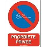 AUA SIGNALETIQUE - Panneau Stationnement Interdit propriété privée-AI - 450x630 mm, Aluminium Dibond 3mm