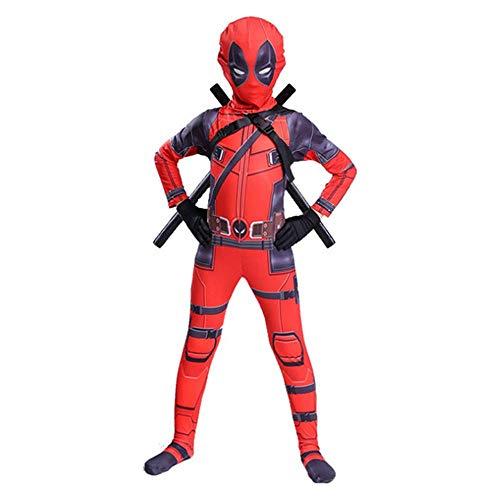 Hope Deadpool Cosplay Kostüm Kinder Erwachsene Jumpsuit Siamesische Strumpfhosen Kostüm Halloween Outfit Maskerade Requisiten,Red-150 cm