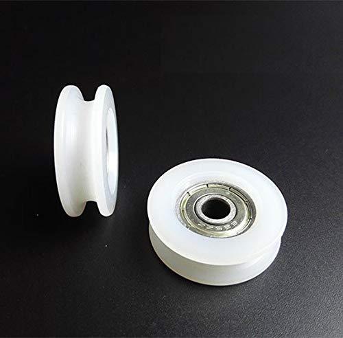 XBaofu 5pcs los 6 * 30 * 10 mm Tipo U Ranura de la polea Rueda de Nylon plástico polea Teniendo Envuelta Ventana Goma de la Rueda Puerta