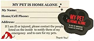 Pet Cards - Home Alone Emergency Wallet ID Cards and Key Tags - Set of 2 Each