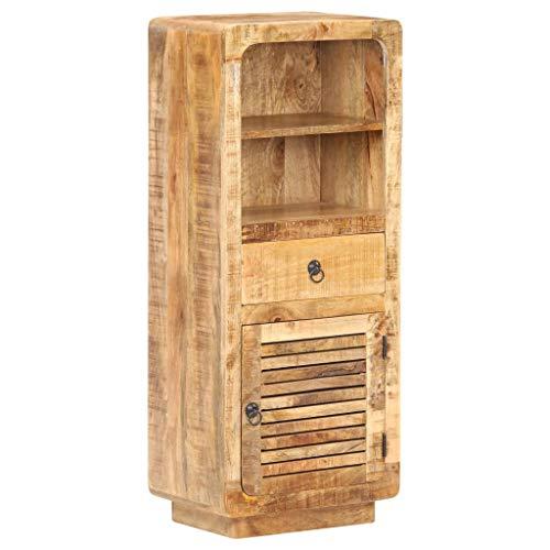 vidaXL Raues Mangoholz Highboard 1 Tür 1 Schublade 2 Regale Sideboard Kommode Beistellschrank Anrichte Standschrank Schrank Mehrzweckschrank 45x32x110cm