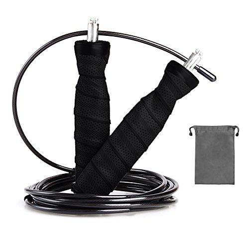 SZPLUS Fitness Springseil Springseil aus Anti- Rutsch Griffe und Stahlseil mit zusätzlichem Beutel verstellbar für Fitnesstraning (Schwarz)