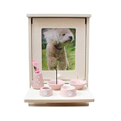 ペット仏壇セット メモリアルハウス ボックス ホワイト 肉球刻印入り 仏具8点セット 磁器 仏具 (ピンク)