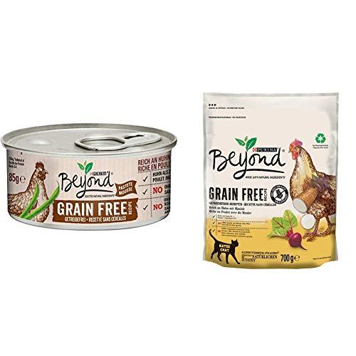 PURINA BEYOND Getreidefrei Katzenfutter Trocken- und Nassfutter Mix-Pack, Huhn mit Maniok und Huhn grüne Bohnen, (6 x 700g und 12 x 85g)