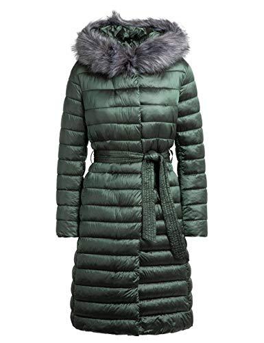 APART Warmer Damen Mantel, Steppmantel, mit elastischem Gürtel, abnehmbar: Kapuze und Kunstfell, Oliv, 36