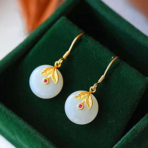 YUXIwang Pulsera de plata natural Hetian blanco jade pith pendientes de anillo chino retro estilo palacio ligero creativo marca joyería de mujer (color de la gema: blanco)