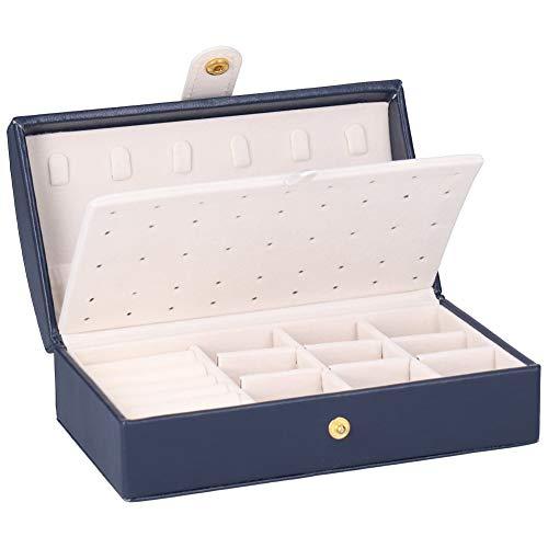 wxf Joyero de piel sintética portátil de viaje multicapa para pendientes, collar y almacenamiento (azul oscuro)