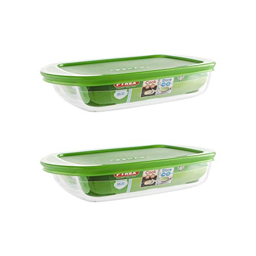 Pyrex Microwave Safe Classic Rectangular Glass Dish Vented Lid 0.75 Litre Green (Pack of 2)
