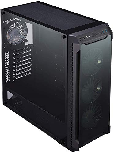 ATX Mid Tower Computer QST-25 Computer/PC Case with Full Acrylic Tinted Side Panel, Pre-Installed Two 120mm Fans, Black&Hellip