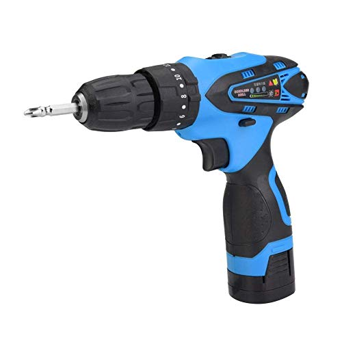 JF-XUAN Cordless Electric Drill Electric Drill Professional Rechargeable Handheld Cordless Electric Screwdriver Tool(UK Plug)