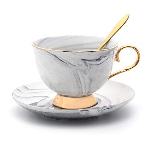 Suszian Kaffeetassen, Keramik Kaffeetassen Set, Marmor Kaffeetassen Set Keramik Tee Milch Teetasse Untertasse Löffel für Kaffee Tee Wasser