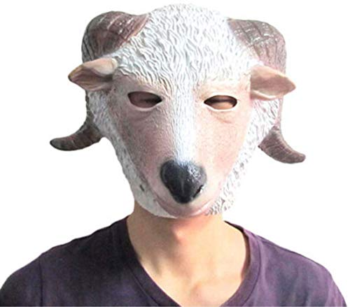 tytlmask schapen hoofd latex masker, griezelige geit volledig gezicht masker, voor halloween-carnaval Kerstmis Pasen Cosplay partij dier speelgoed/prop