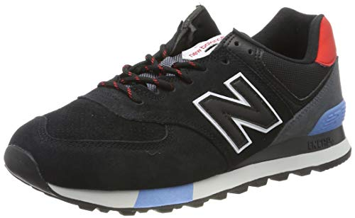 New Balance Men's 574 V2 Sneaker, Black/Velocity Red, 9 M US