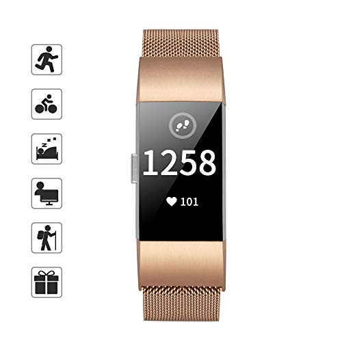 TOMALL Metal Bands Compatible for Fitbit Charge 2,Stainless Steel Metal Replacement Wristband for Women Men (Small, Rose Gold)