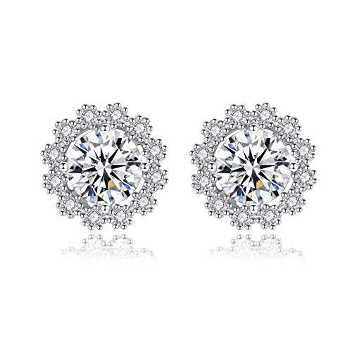 Beydodo Pendientes Plata Perlas 925 Ley Mujer,Pendientes Mujer Blanco Oro Copo de Nieve Moissanita Blanco