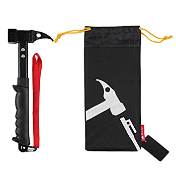 OMUKY Marteau de camping en acier avec poignée en caoutchouc pour piquets de tente avec sangle de maintien (noir)