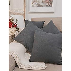 Pack 4 fundas de cojines para sofá EFECTO LINO suave, 16 COLORES fundas para almohada sin relleno, cojín decorativo grande para cama, salón o cocina. Almohadón elegante en varios tamaños.