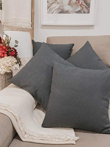 Pack 4 fundas de cojines para sofá EFECTO LINO suave, 16 COLORES fundas para almohada sin relleno, cojín decorativo grande para cama, salón. Almohadón elegante en varios tamaños.(Negro, 45x45cm)