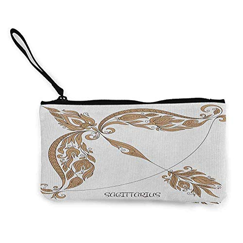 TTmom Carteras de Mujer,Monedero,Zodiac Sagittarius Bow and Arrow Pattern with Hand Drawn Flowers Vintage Design Wallet Coin Purses Clutch W 8.5' x L 4.5' Caramel and Black